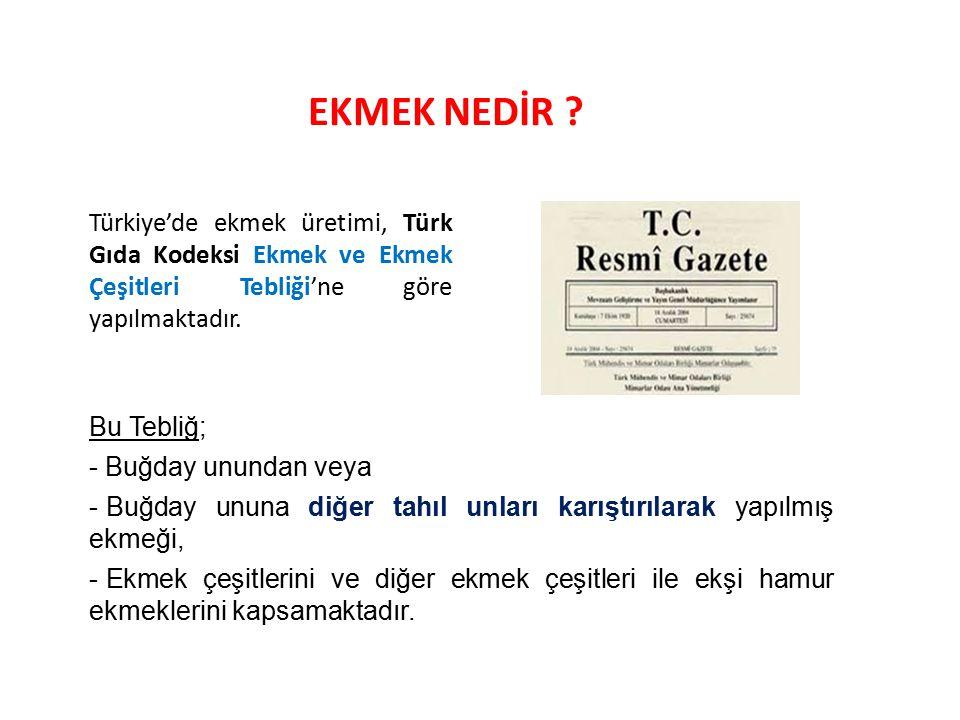 EKMEK NEDİR Türkiye'de ekmek üretimi, Türk Gıda Kodeksi Ekmek ve Ekmek Çeşitleri Tebliği'ne göre yapılmaktadır.
