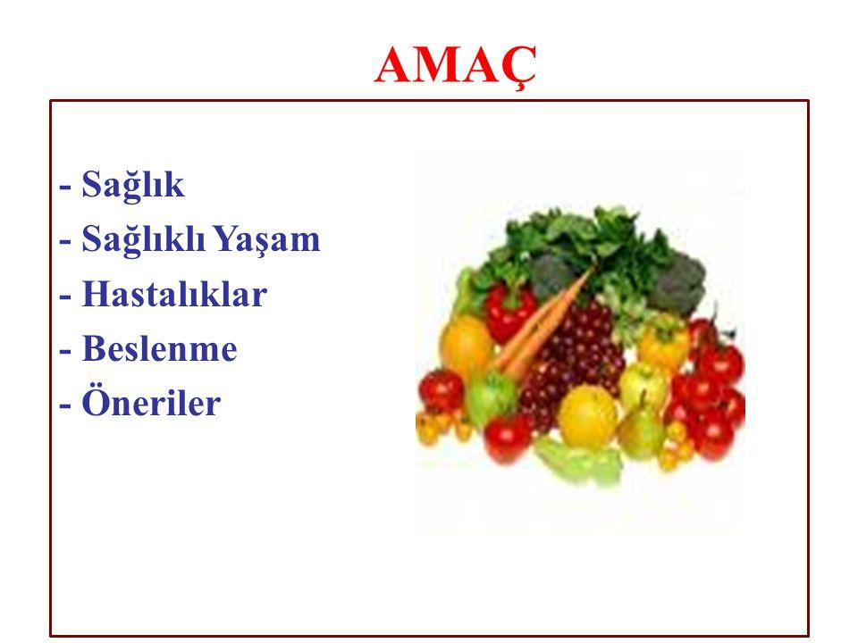 - Sağlık - Sağlıklı Yaşam - Hastalıklar - Beslenme - Öneriler