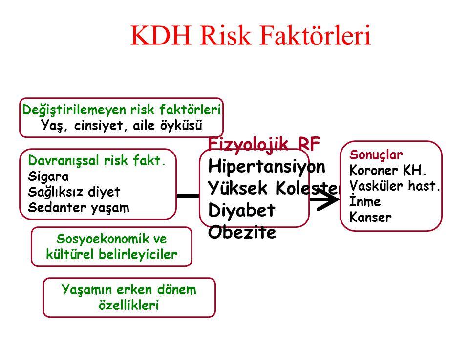 KDH Risk Faktörleri Fizyolojik RF Hipertansiyon Yüksek Kolesterol