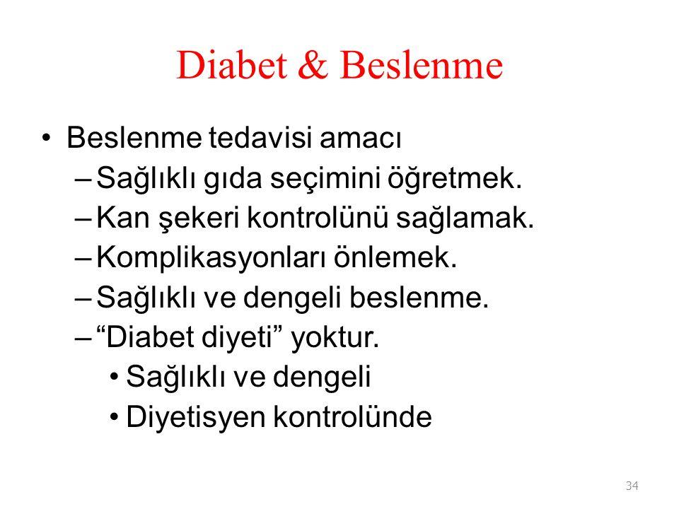 Diabet & Beslenme Beslenme tedavisi amacı