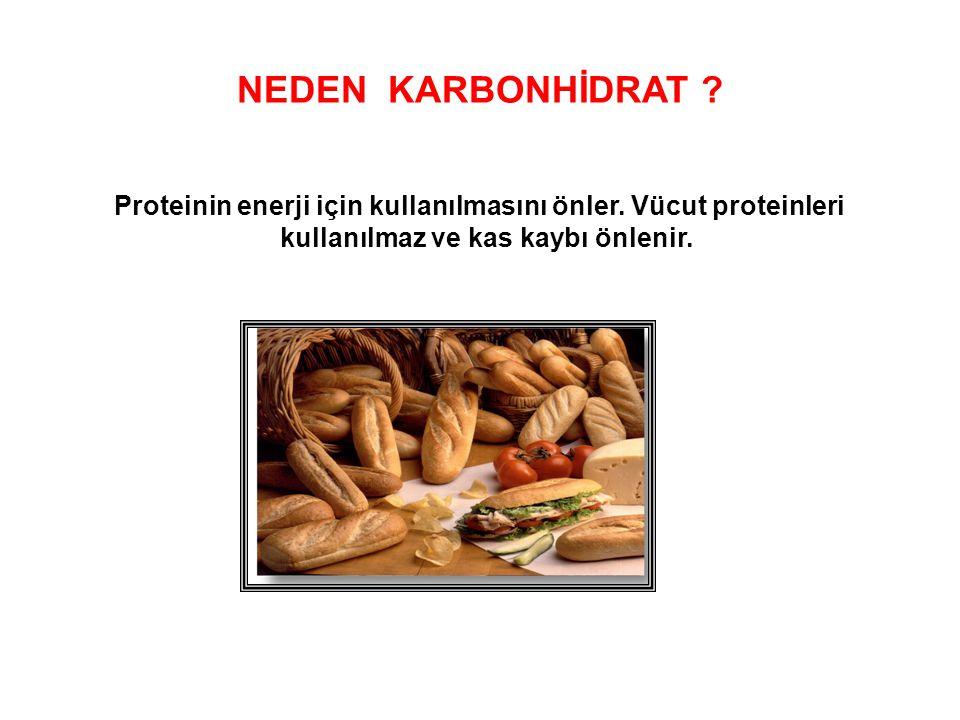 NEDEN KARBONHİDRAT . Proteinin enerji için kullanılmasını önler.
