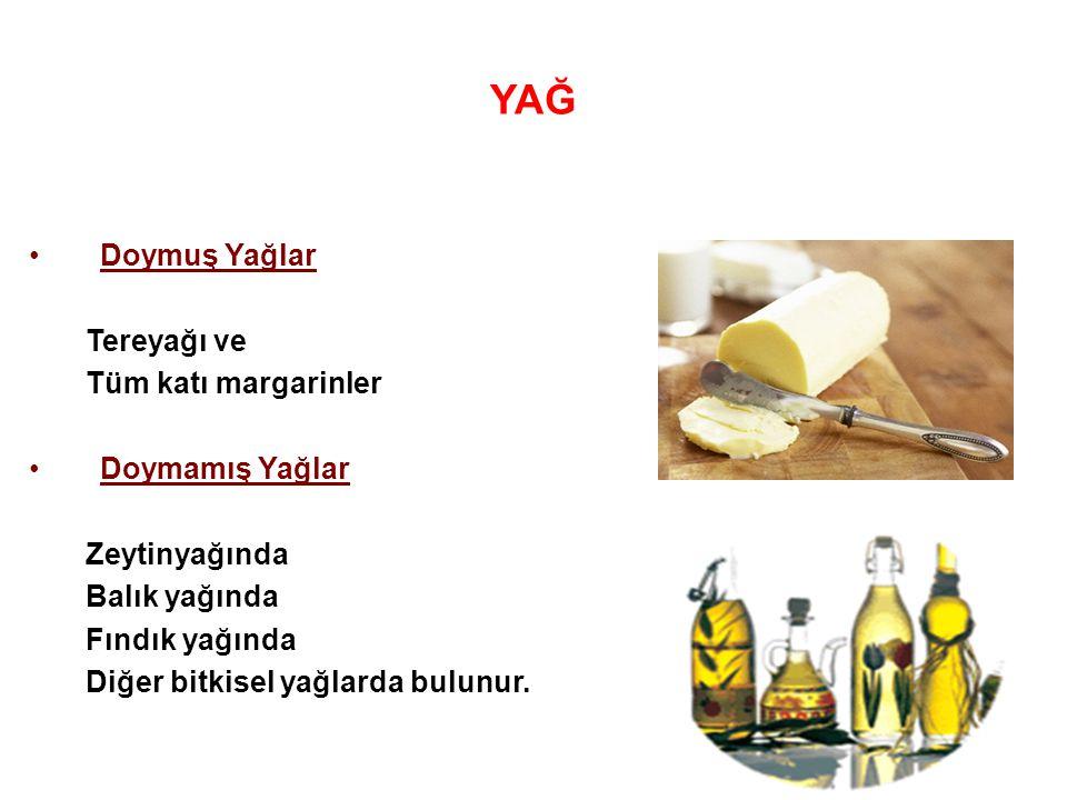 YAĞ Doymuş Yağlar Tereyağı ve Tüm katı margarinler Doymamış Yağlar
