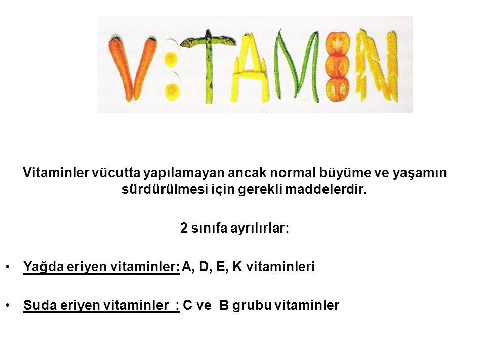 VİTAMİNLER Vitaminler vücutta yapılamayan ancak normal büyüme ve yaşamın sürdürülmesi için gerekli maddelerdir.