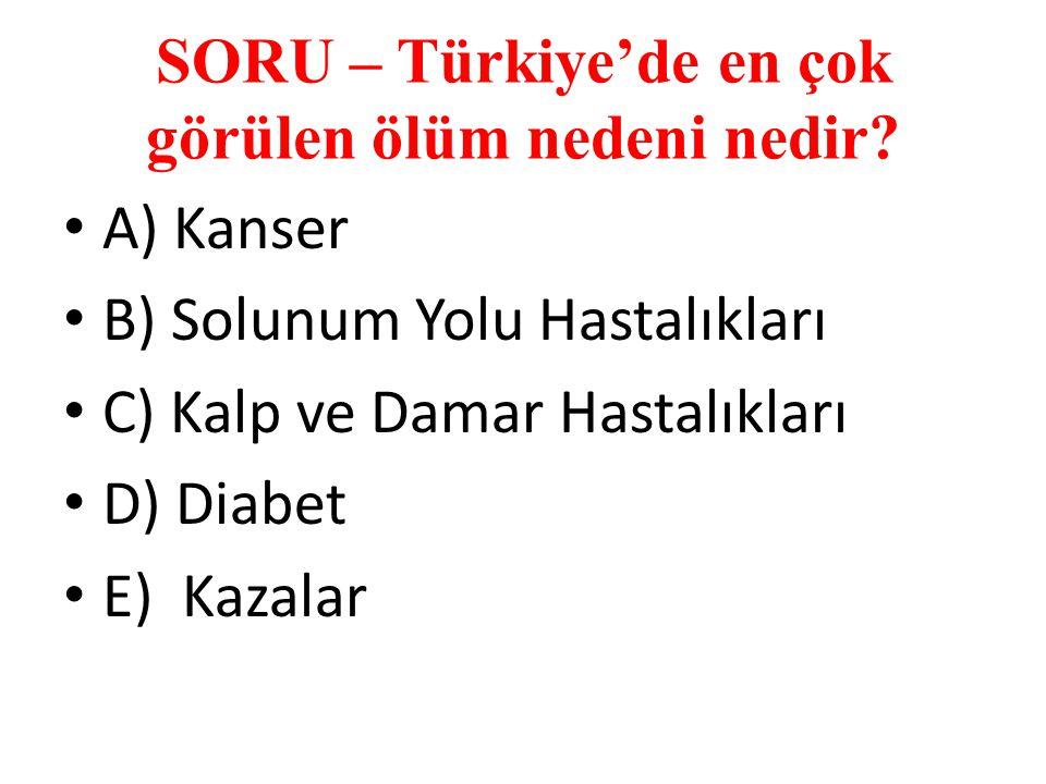SORU – Türkiye'de en çok görülen ölüm nedeni nedir