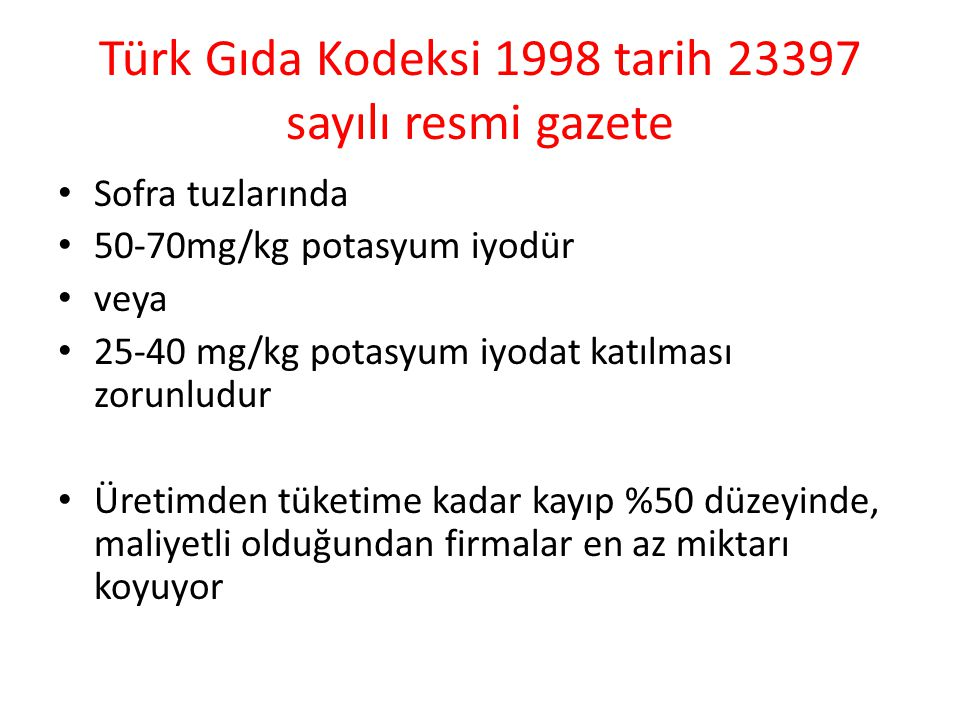 Türk Gıda Kodeksi 1998 tarih 23397 sayılı resmi gazete