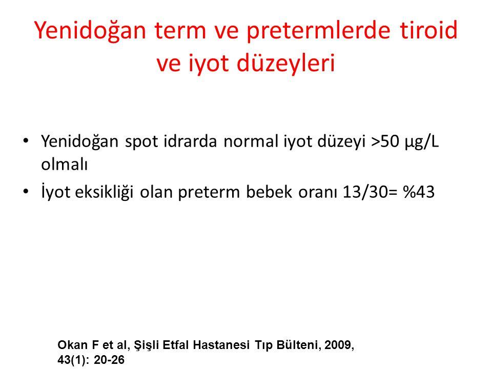 Yenidoğan term ve pretermlerde tiroid ve iyot düzeyleri