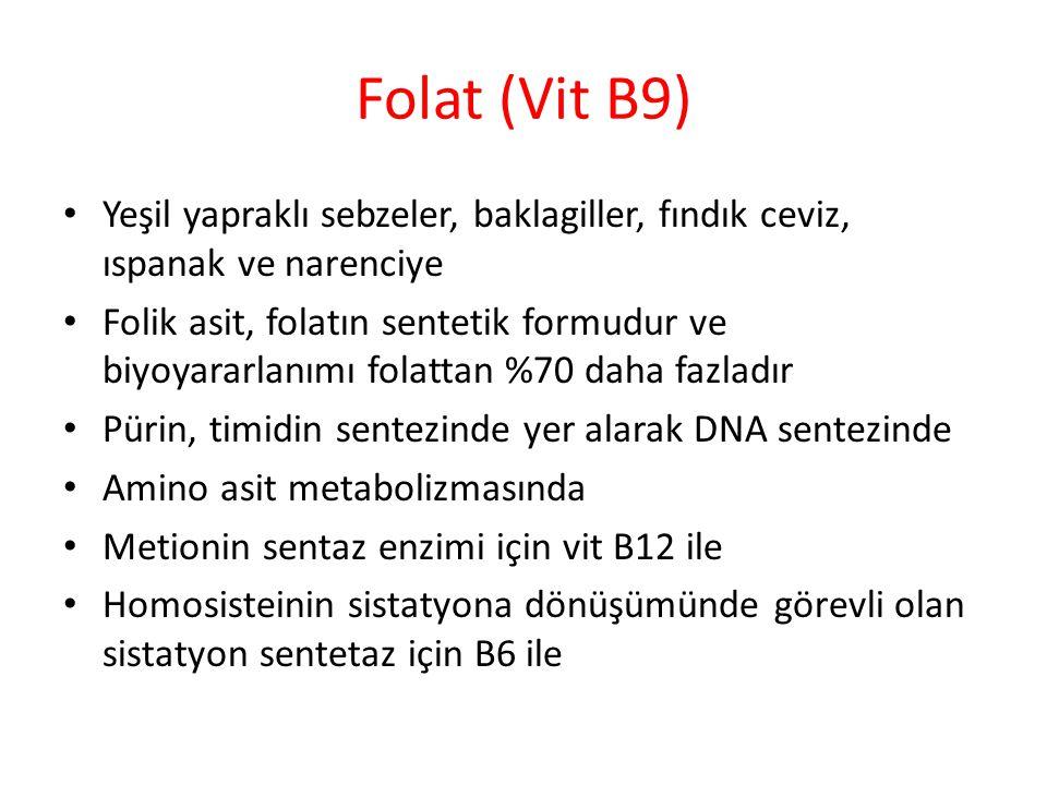 Folat (Vit B9) Yeşil yapraklı sebzeler, baklagiller, fındık ceviz, ıspanak ve narenciye.