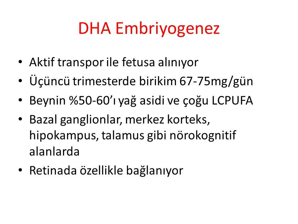 DHA Embriyogenez Aktif transpor ile fetusa alınıyor