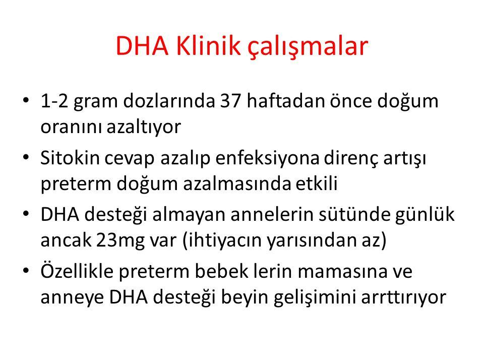 DHA Klinik çalışmalar 1-2 gram dozlarında 37 haftadan önce doğum oranını azaltıyor.