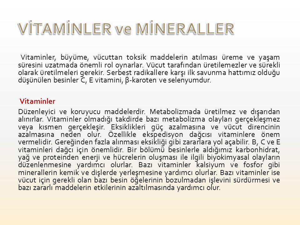 VİTAMİNLER ve MİNERALLER