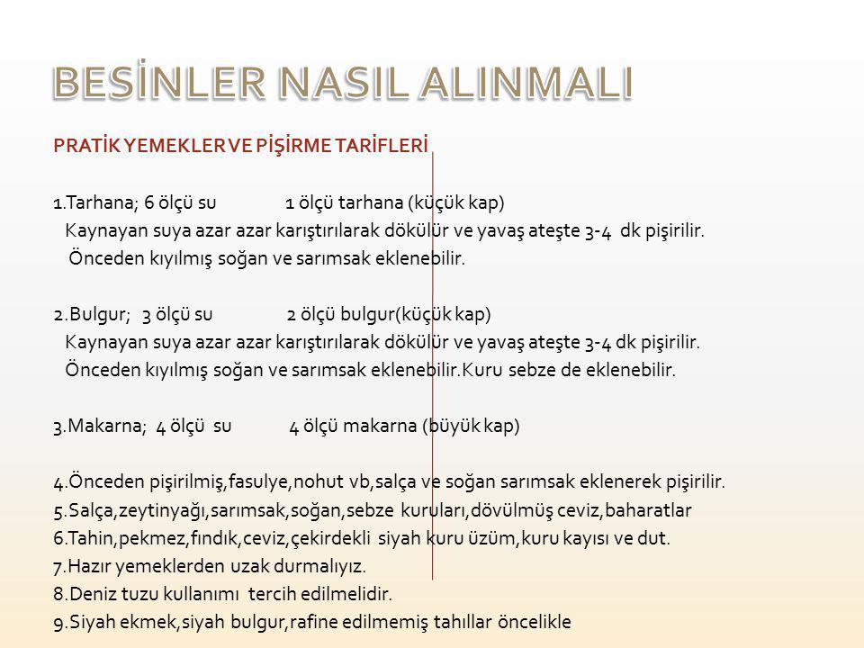 BESİNLER NASIL ALINMALI
