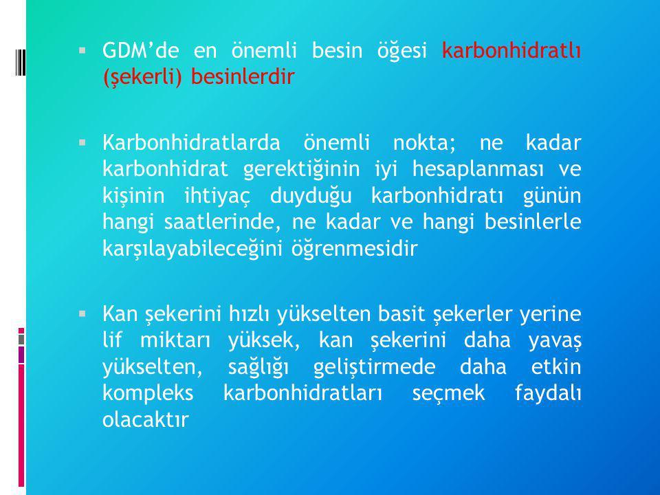 GDM'de en önemli besin öğesi karbonhidratlı (şekerli) besinlerdir