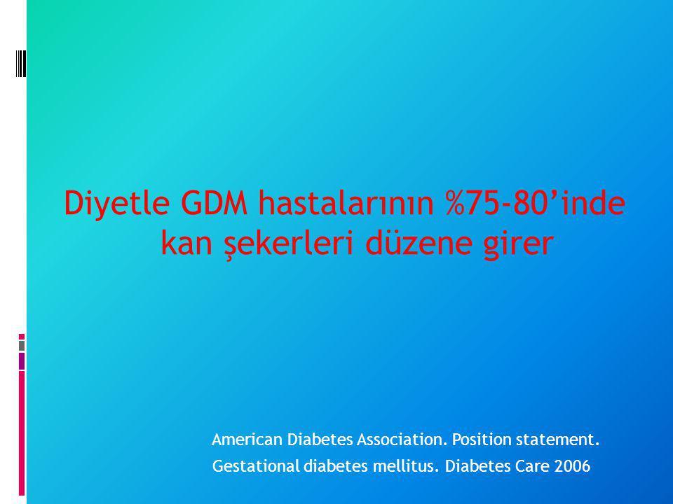 Diyetle GDM hastalarının %75-80'inde kan şekerleri düzene girer