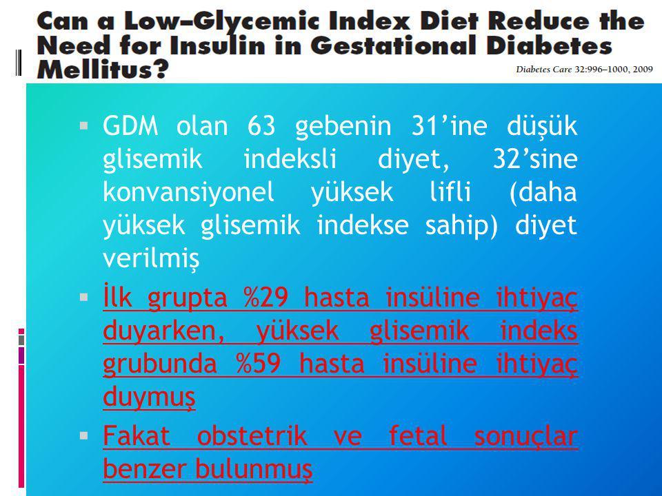 GDM olan 63 gebenin 31'ine düşük glisemik indeksli diyet, 32'sine konvansiyonel yüksek lifli (daha yüksek glisemik indekse sahip) diyet verilmiş