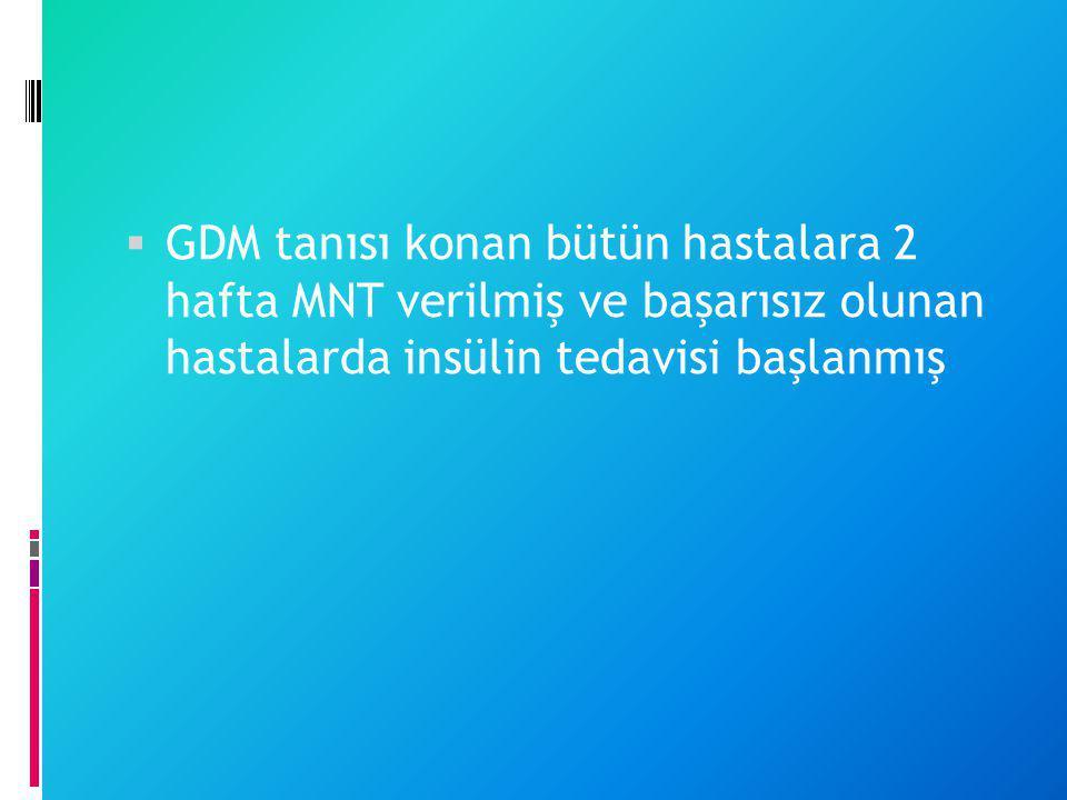 GDM tanısı konan bütün hastalara 2 hafta MNT verilmiş ve başarısız olunan hastalarda insülin tedavisi başlanmış