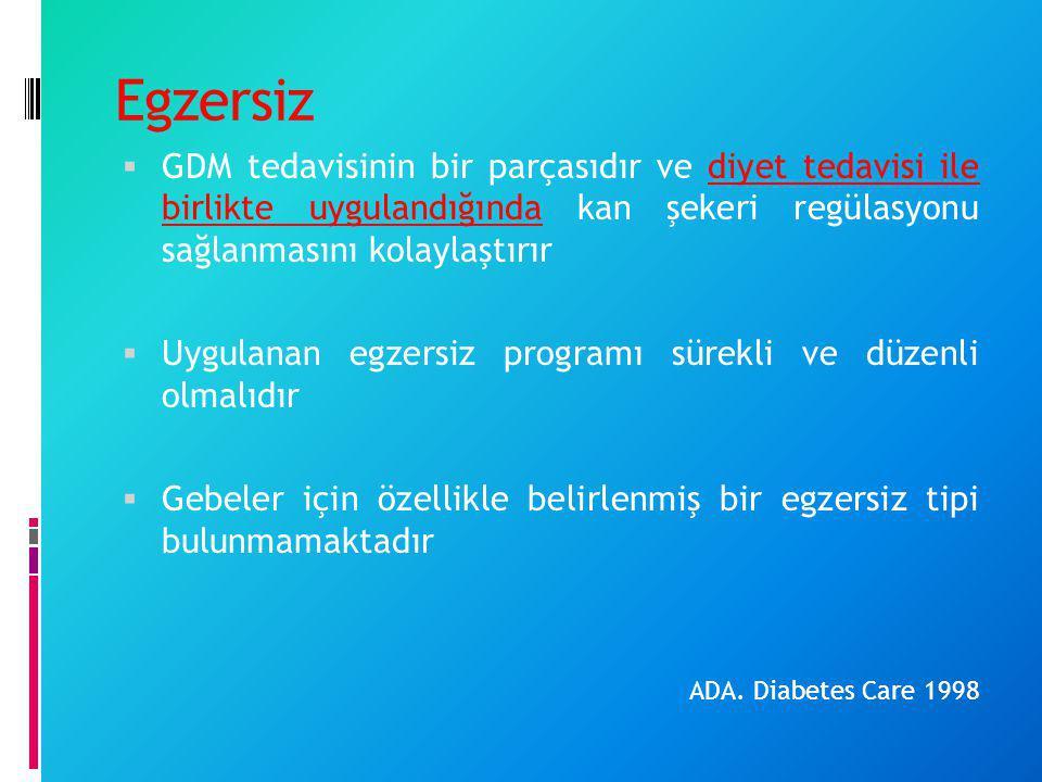 Egzersiz GDM tedavisinin bir parçasıdır ve diyet tedavisi ile birlikte uygulandığında kan şekeri regülasyonu sağlanmasını kolaylaştırır.