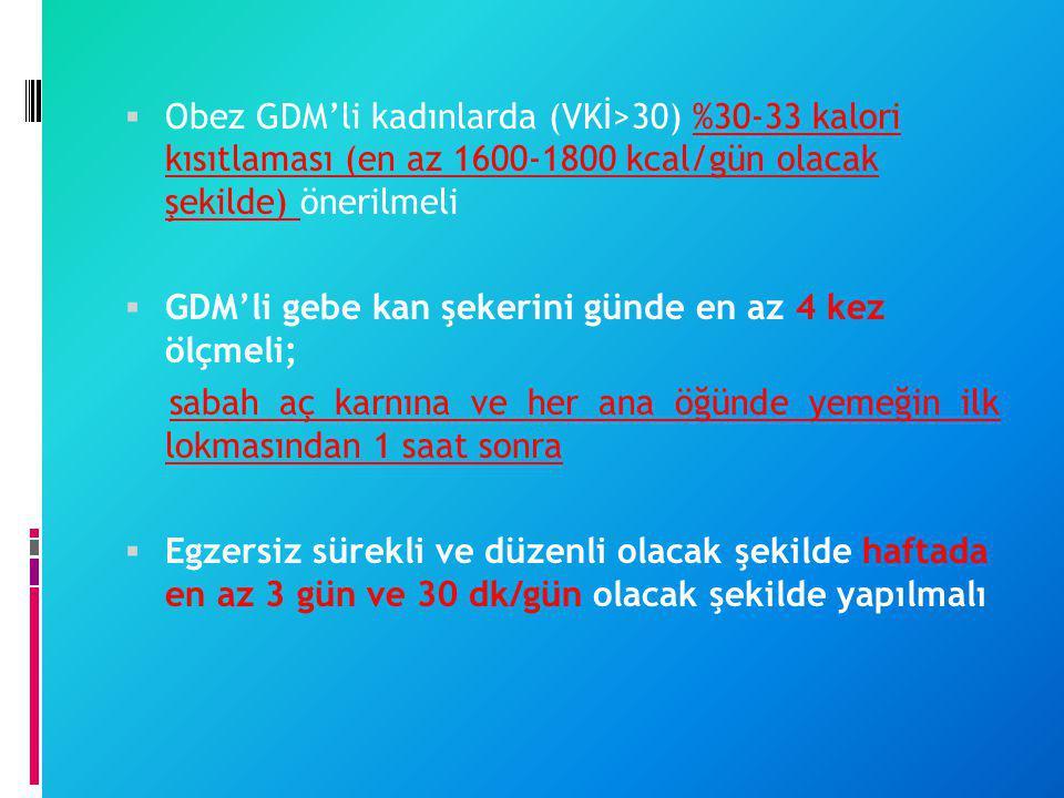 Obez GDM'li kadınlarda (VKİ>30) %30-33 kalori kısıtlaması (en az 1600-1800 kcal/gün olacak şekilde) önerilmeli