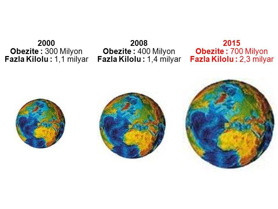 2000 Obezite : 300 Milyon Fazla Kilolu : 1,1 milyar