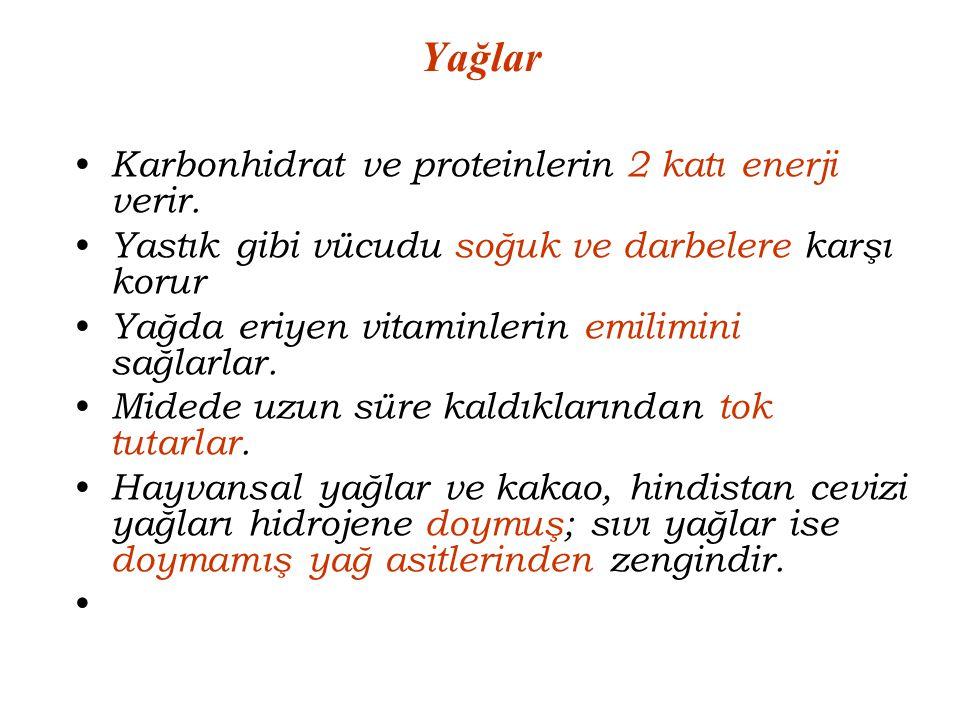 Yağlar Karbonhidrat ve proteinlerin 2 katı enerji verir.