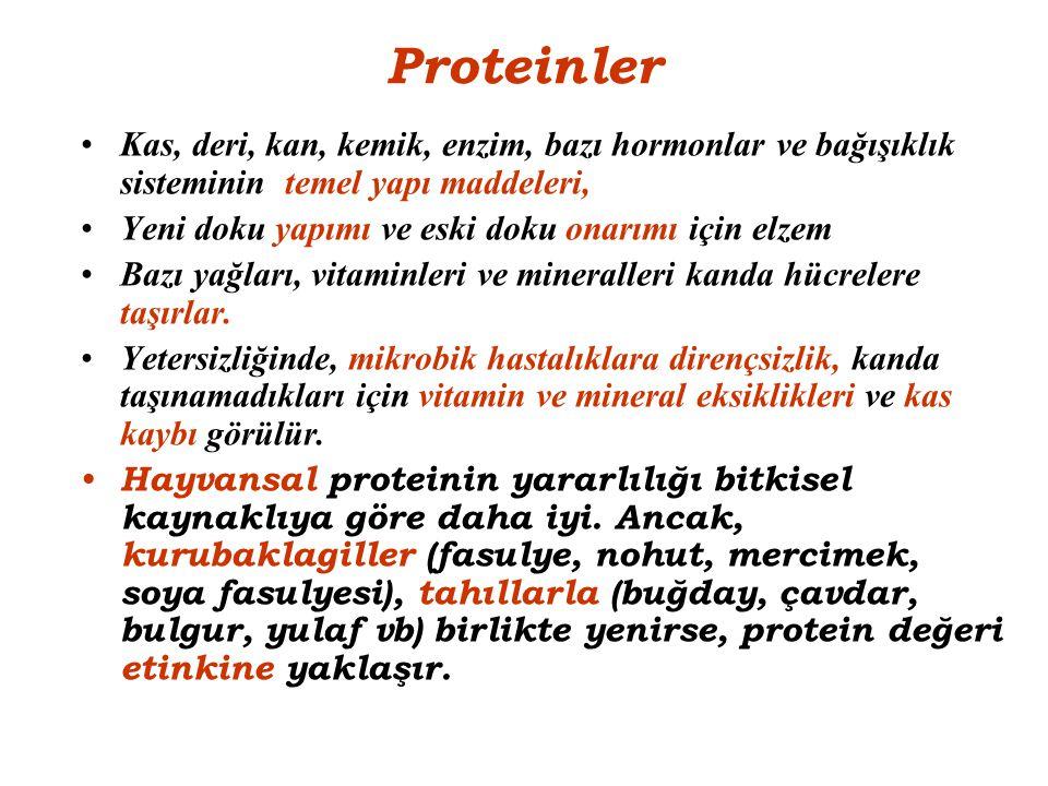 Proteinler Kas, deri, kan, kemik, enzim, bazı hormonlar ve bağışıklık sisteminin temel yapı maddeleri,