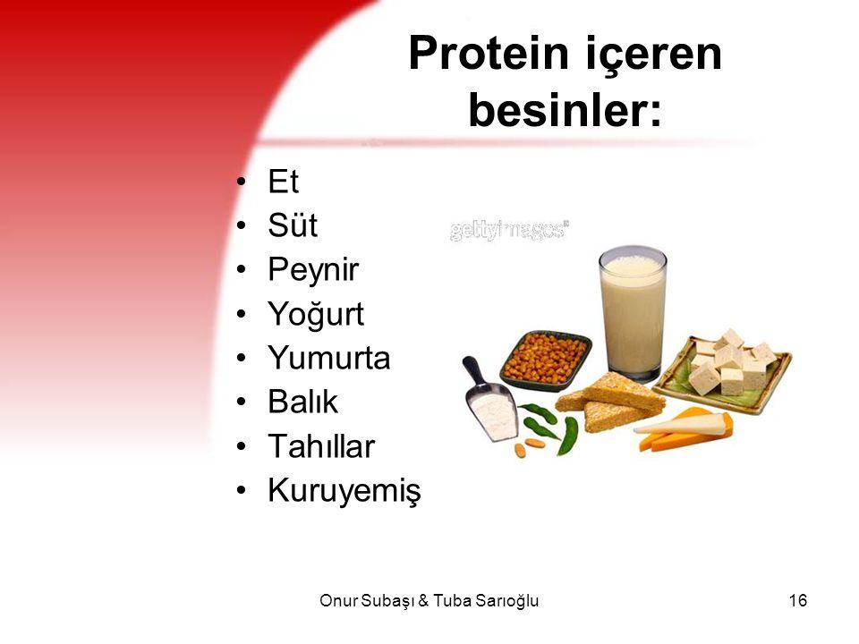 Protein içeren besinler: