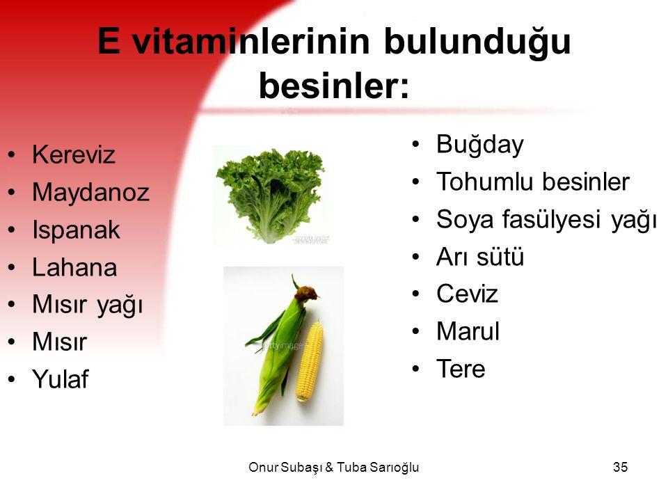 E vitaminlerinin bulunduğu besinler: