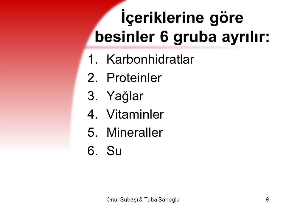 İçeriklerine göre besinler 6 gruba ayrılır: