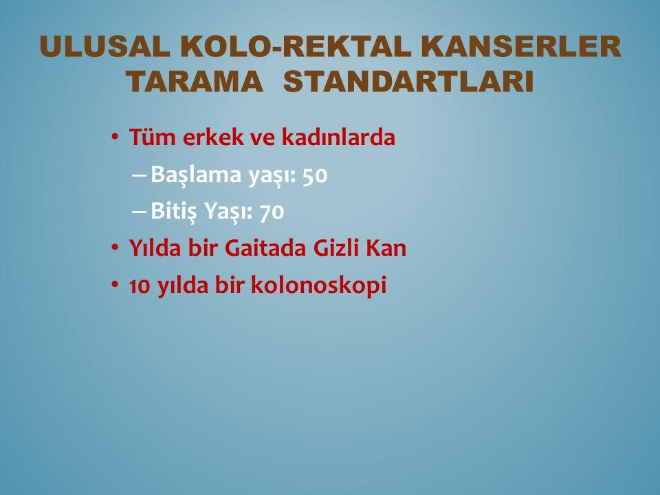 Ulusal Kolo-rektal Kanserler Tarama StandartlarI