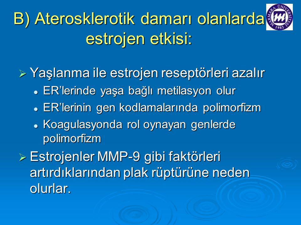 B) Aterosklerotik damarı olanlarda estrojen etkisi: