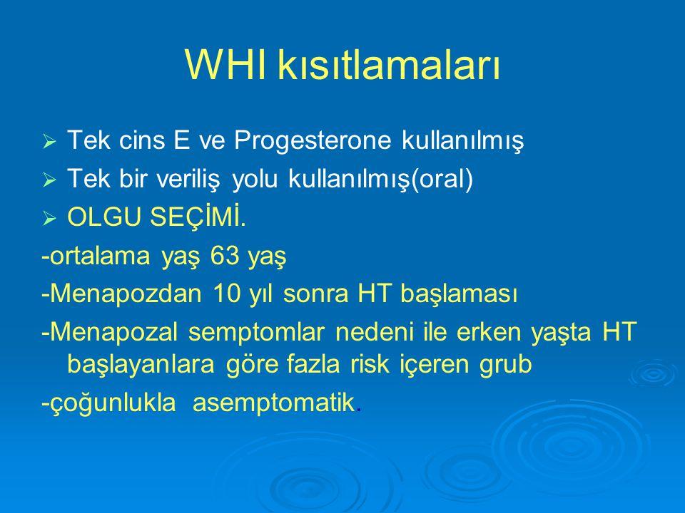WHI kısıtlamaları Tek cins E ve Progesterone kullanılmış