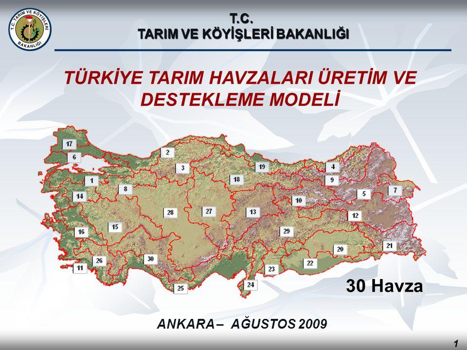 TÜRKİYE TARIM HAVZALARI ÜRETİM VE DESTEKLEME MODELİ 30 Havza