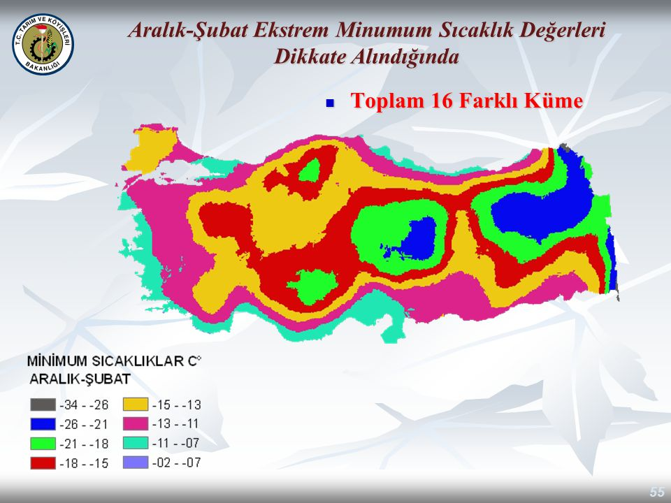 Aralık-Şubat Ekstrem Minumum Sıcaklık Değerleri Dikkate Alındığında
