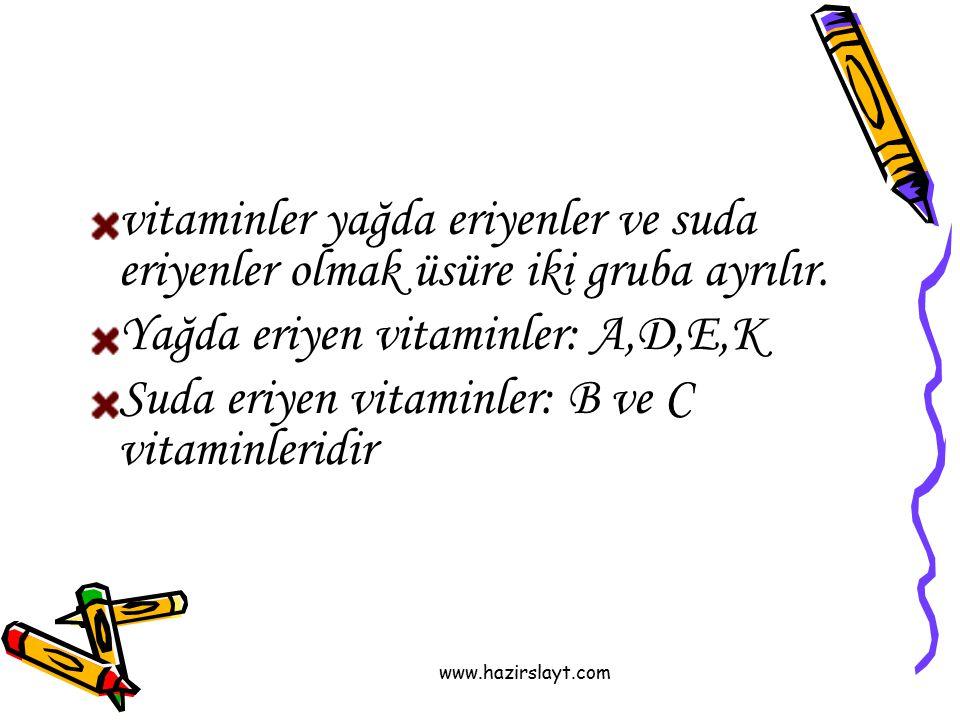 Yağda eriyen vitaminler: A,D,E,K