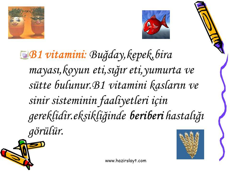 B1 vitamini: Buğday,kepek,bira mayası,koyun eti,sığır eti,yumurta ve sütte bulunur.B1 vitamini kasların ve sinir sisteminin faaliyetleri için gereklidir.eksikliğinde beriberi hastalığı görülür.