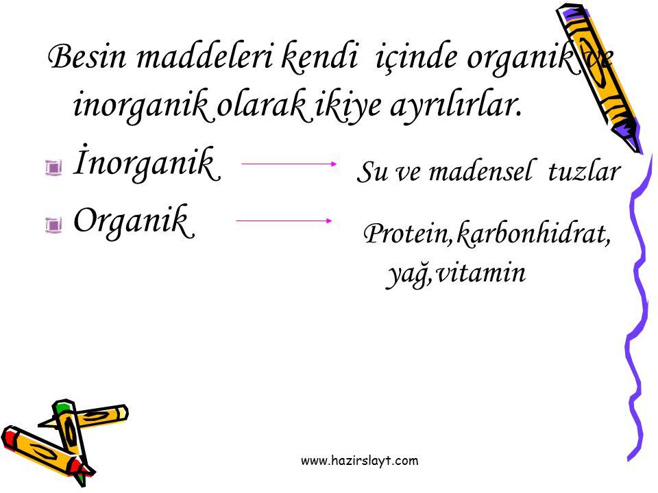 Besin maddeleri kendi içinde organik ve inorganik olarak ikiye ayrılırlar.