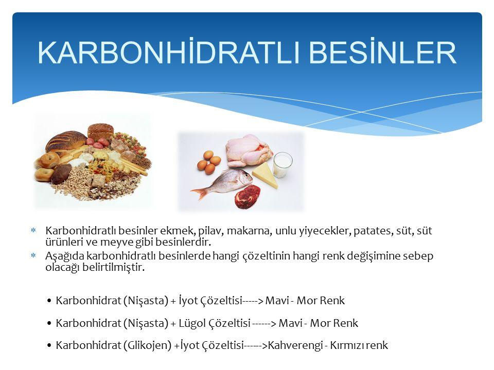 KARBONHİDRATLI BESİNLER
