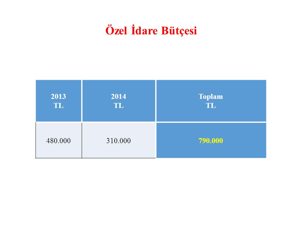 Özel İdare Bütçesi 2013 TL 2014 Toplam 480.000 310.000 790.000