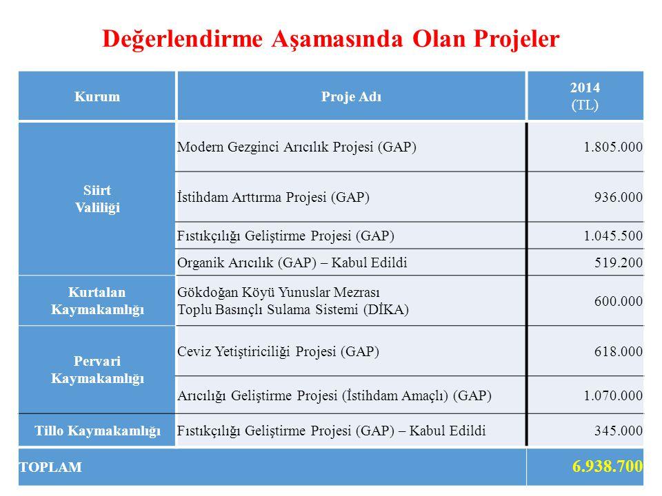 Değerlendirme Aşamasında Olan Projeler
