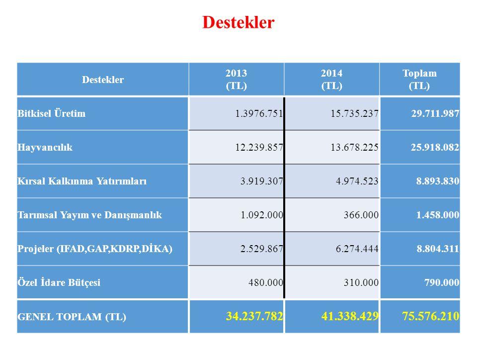 Destekler 34.237.782 41.338.429 75.576.210 Destekler 2013 (TL) 2014