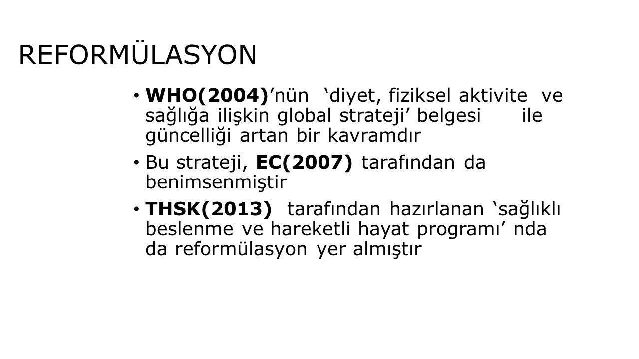 REFORMÜLASYON WHO(2004)'nün 'diyet, fiziksel aktivite ve sağlığa ilişkin global strateji' belgesi ile güncelliği artan bir kavramdır.