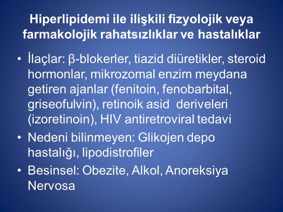 Hiperlipidemi ile ilişkili fizyolojik veya farmakolojik rahatsızlıklar ve hastalıklar