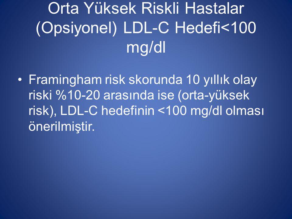 Orta Yüksek Riskli Hastalar (Opsiyonel) LDL-C Hedefi<100 mg/dl