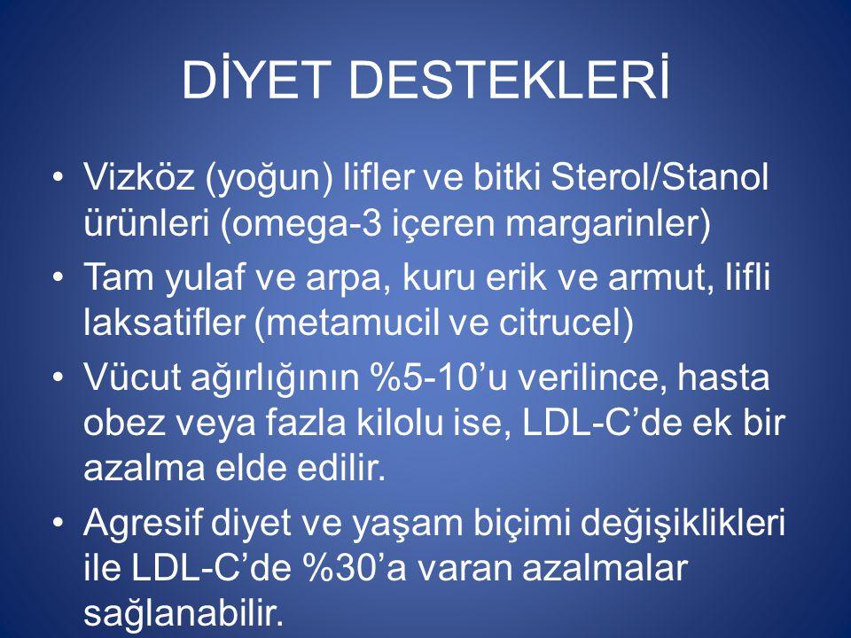 DİYET DESTEKLERİ Vizköz (yoğun) lifler ve bitki Sterol/Stanol ürünleri (omega-3 içeren margarinler)