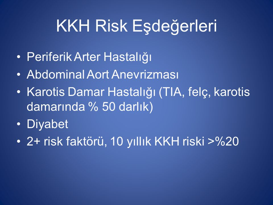 KKH Risk Eşdeğerleri Periferik Arter Hastalığı