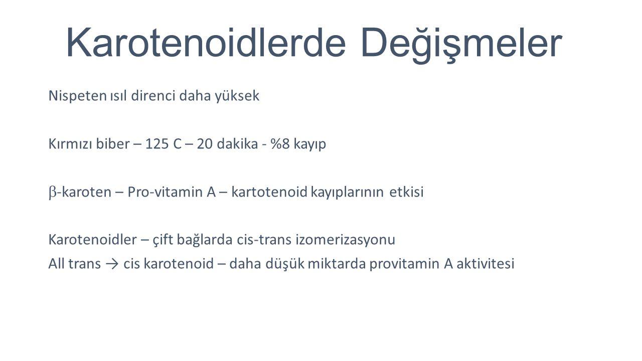 Karotenoidlerde Değişmeler