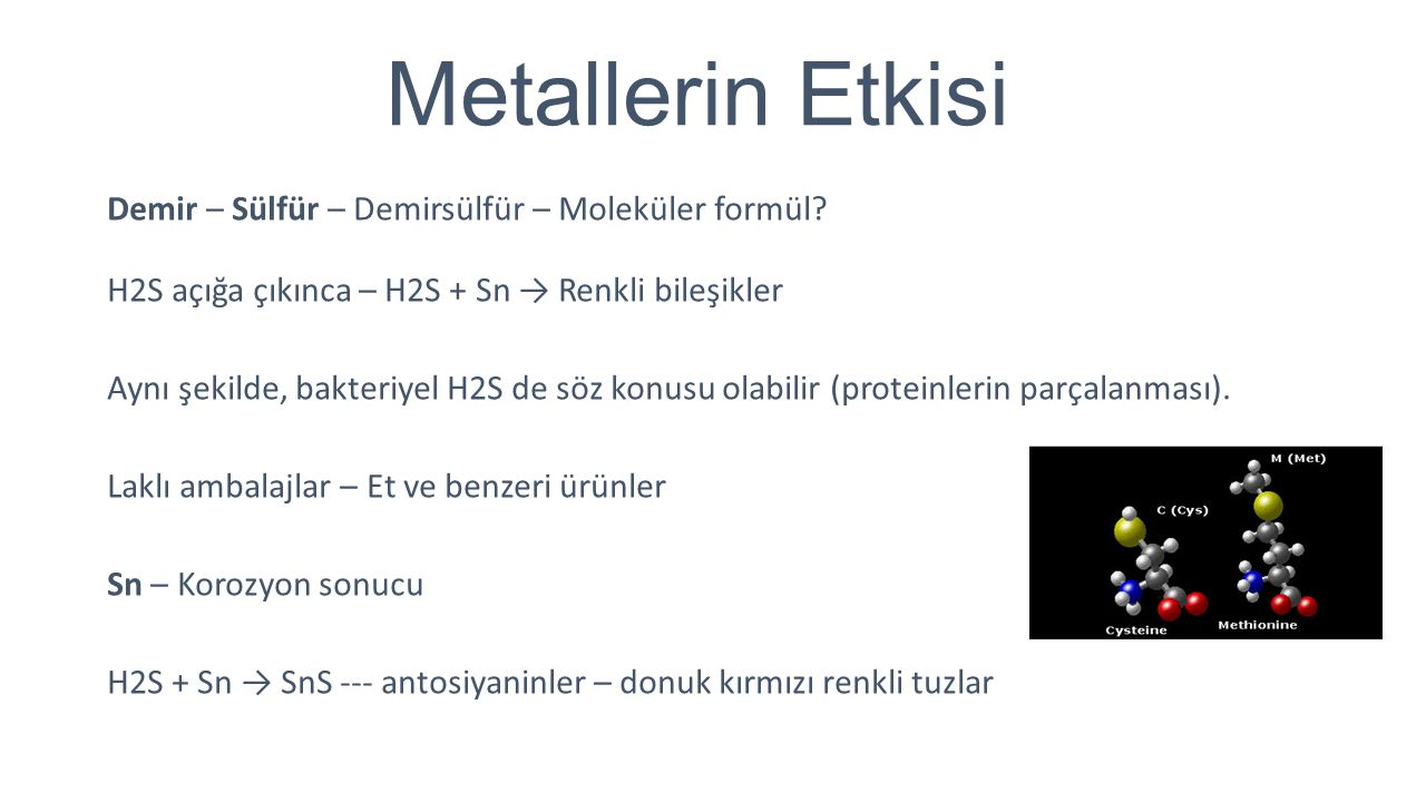 Metallerin Etkisi Demir – Sülfür – Demirsülfür – Moleküler formül