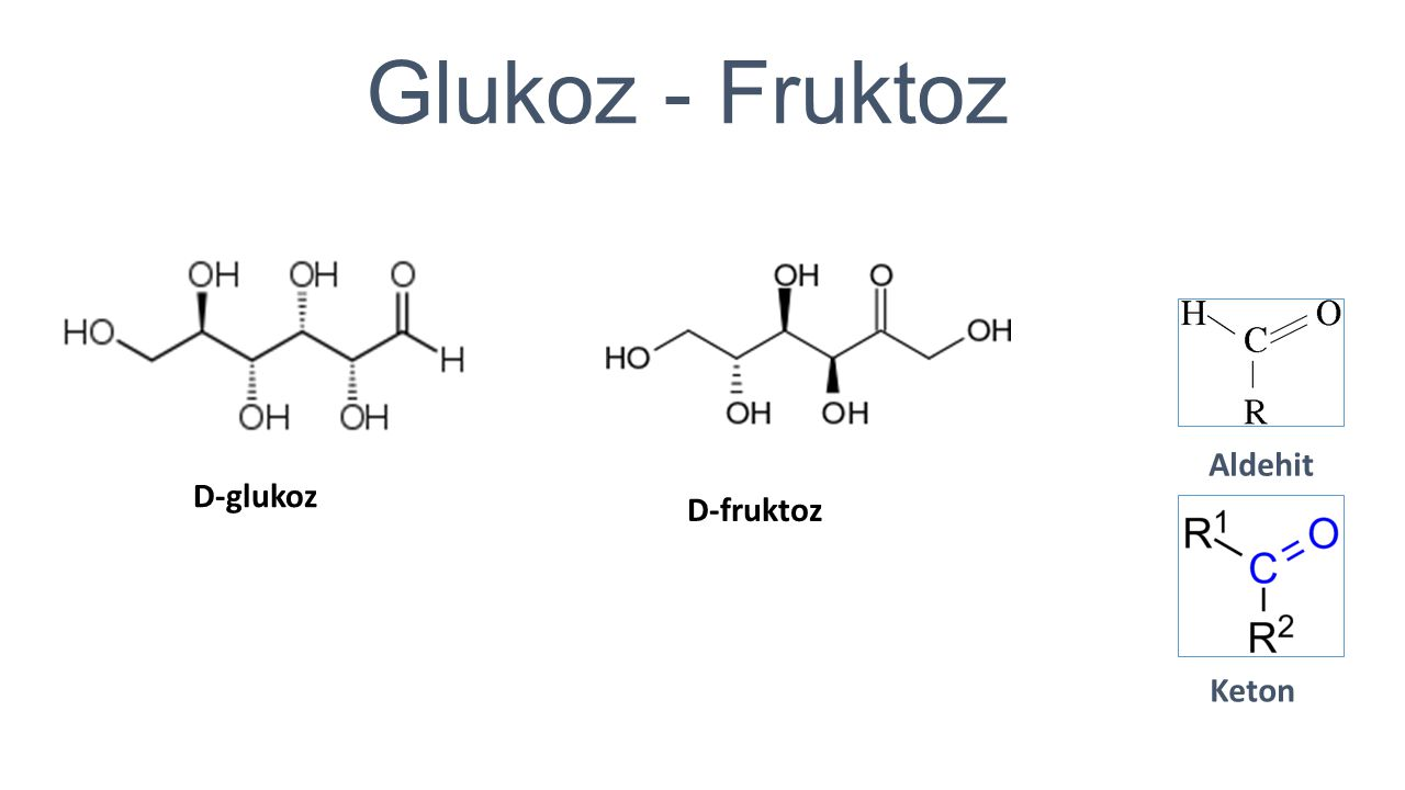 Glukoz - Fruktoz Aldehit D-glukoz D-fruktoz Keton