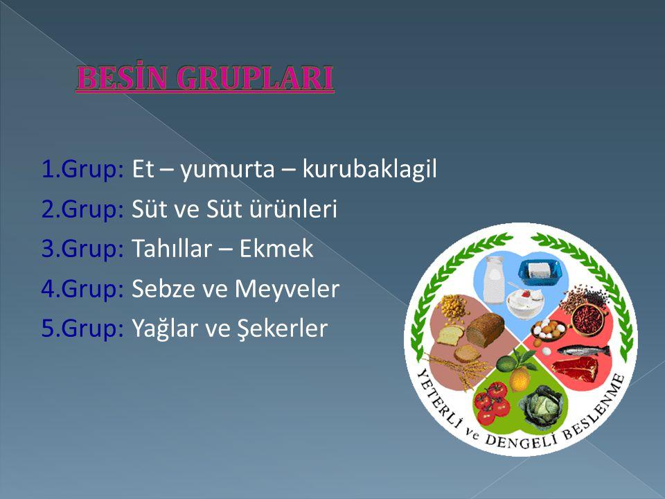 BESİN GRUPLARI 1.Grup: Et – yumurta – kurubaklagil