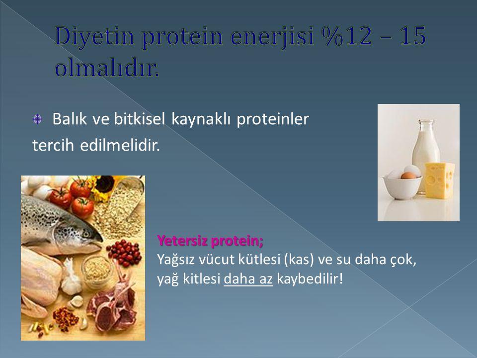 Diyetin protein enerjisi %12 – 15 olmalıdır.