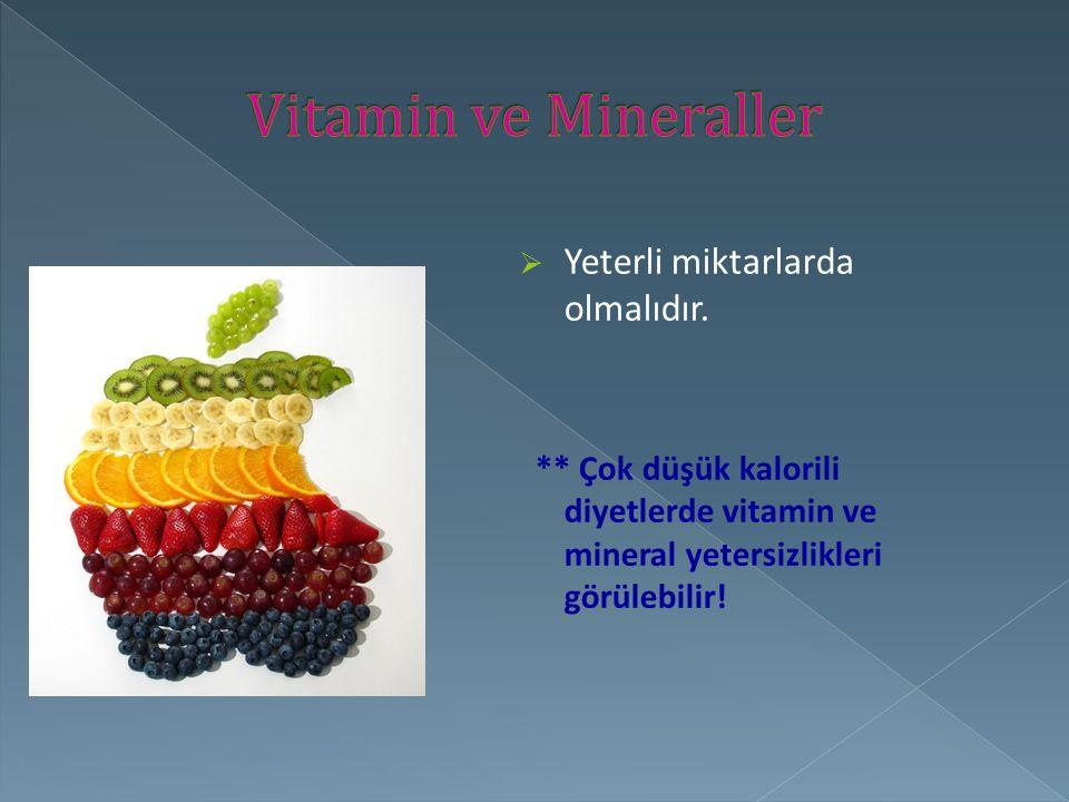 Vitamin ve Mineraller Yeterli miktarlarda olmalıdır.
